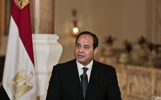 In this March 2, 2017 Egyptian President Abdel-Fattah el-Sissi meets with German Chancellor Angela Merkel, during a press conference, at the presidential palace in Cairo, Egypt, Thursday, March 2, 2017. (AP/Nariman El-Mofty)