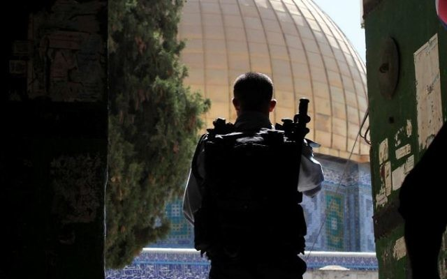 A Border Police officer stands at an entrance to the Temple Mount in Jerusalem's Old City on June 8, 2009. (Yossi Zamir/Flash90)