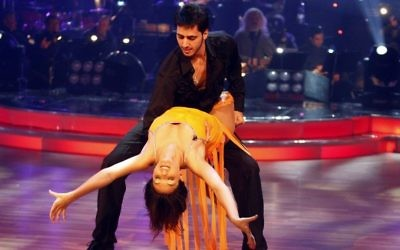 Yaniv Kakun and Liat Blau on the television show 'Dancing with the Stars.' (Abir Sultan/Flash90)