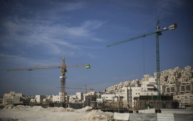 An illustrative photo of construction of new apartment buildings in Har Homa in East Jerusalem, October 28, 2014. (Hadas Parush/Flash90)