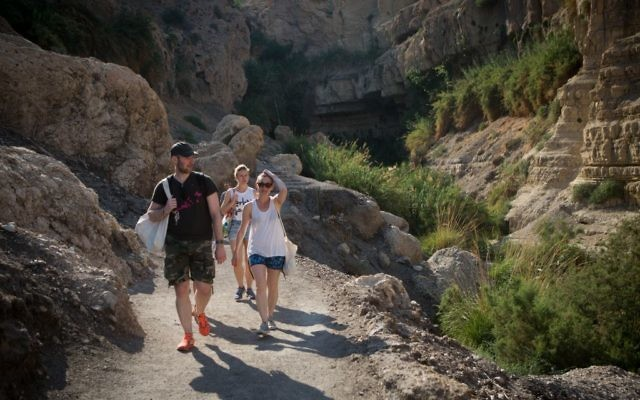 Tourists enjoy hiking in the Ein Gedi national park, near the Dead Sea, Israel. May 15, 2015.(Miriam Alster/ Flash90)