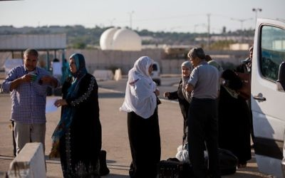 Illustrative photo of Palestinians at the Erez Crossing between Gaza and Israel on September 3, 2015. (Yonatan Sindel/Flash90)