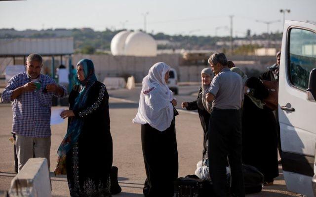 Illustrative photo of Palestinians at the Erez Crossing between Gaza and Israel on September 3, 2015. (Yonatan Sindel/Flash90)