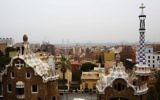 A view of the city of Barcelona from the top of a hill in Antoni Gaudi's Park Guell on January 29th, 2016.  (Esther Rubyan/Flash90)