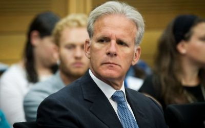 "Kulanu MK Michael Oren seen at a conference organized by NGO Monitor, entitled ""15 years of the Durban conference"", held at the Knesset on June 20, 2016. (Miriam Alster/Flash90)"