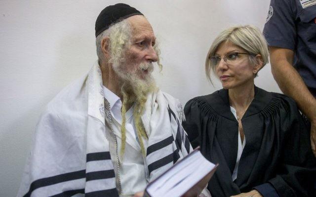 Rabbi Eliezer Berland at the Jerusalem District Court in Jerusalem on August 1, 2016.(Yonatan Sindel/ Flash90)