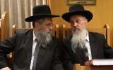 Rabbi Avraham Yosef (r) and Rabbi David Yosef attend a ceremony in memory of Rabbi Ovadia Yosef in Jerusalem on November 3, 2016. (Yaakov Cohen/Flash90)