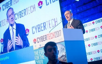 Prime Minister Benjamin Netanyahu at the Cybertech Israel Conference and Exhibition, in Tel Aviv on January 31, 2017. (Miriam Alster/FLASH90)