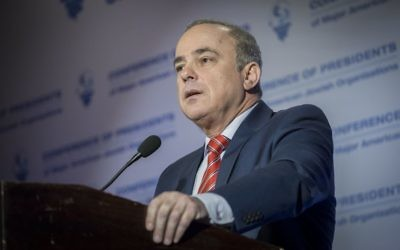 Energy Minister Yuval Steinitz attends the Conference of Presidents of Major American Jewish Organizations, at the Inbal Hotel in Jerusalem, February 20, 2017. (Yonatan Sindel/Flash90)