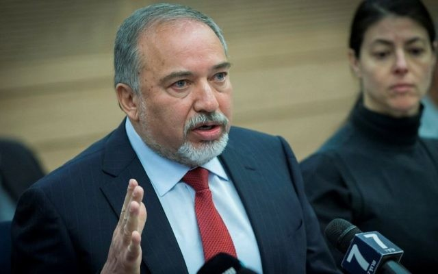 Defense Minister Avigdor Liberman attends a Defense and Foreign Affairs Committee meeting at the Knesset on March 6, 2017. (Yonatan Sindel/Flash90)