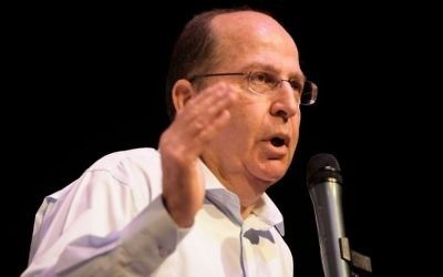 Former defense minister Moshe Ya'alon speaks during the Gush Katif conference at the Tel Aviv Museum on March 23, 2017. (Yossi Zeliger/Flash90)