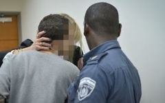 A teenage Israeli hacker, suspected of  sending false threats of terror attacks to Jewish facilities across the world, is brought to the Rishon Lezion Magistrate's Court, March 30, 2017. (Flash90)