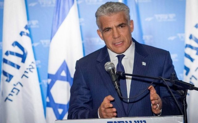 Chairman of the Yesh Atid party Yair Lapid speaks during a press conference in Tel Aviv, April 3, 2017. (Flash90)