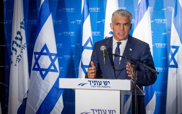 Leader of Yesh Atid party MK Yair Lapid speaks during a press conference in Tel Aviv, April 3, 2017. (Flash90)