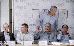 "Mayor of Acre Shimon Lankri, Former IDF chief of staff Gabi Ashkenazi (2L), Shlomo Dovrat, former IDF Chief of staff Benny Gantz (standing) and former education minister Shai Piron at a press conference for the new social movement ""Pnima"", in Lod, on April 03, 2017. (Tomer Neuberg/FLASH90)"