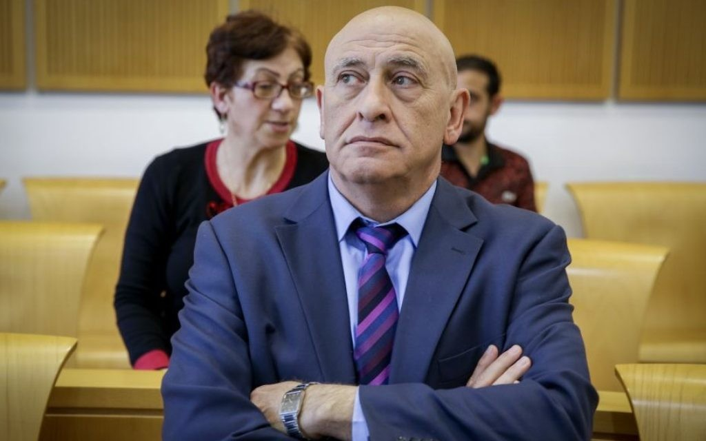 Former Joint Arab List member Basel Ghattas arrives for a court hearing at the Beersheba Magistrate's Court, April 9, 2017.  (Yehuda Peretz/POOL/Flash90)