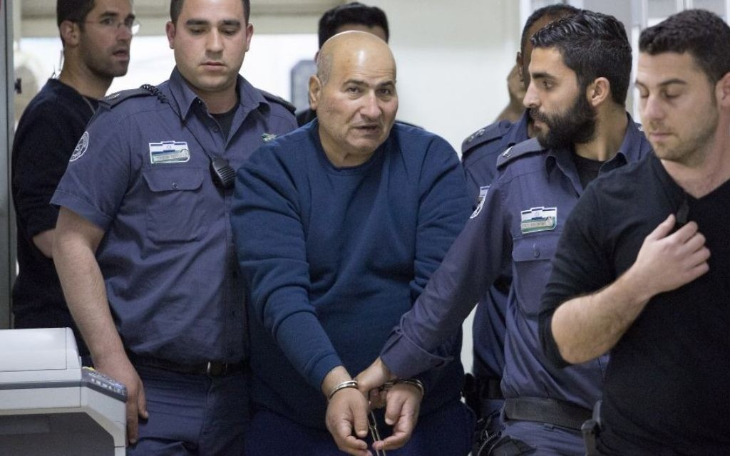 Jamil Tamimi, 57, who stabbed and killed Hannah Bladon in Jerusalem on April 14, 2017, is brought to the Jerusalem Magistrate's Court after his arrest, on April 15, 2017. (Yonatan Sindel/Flash90)