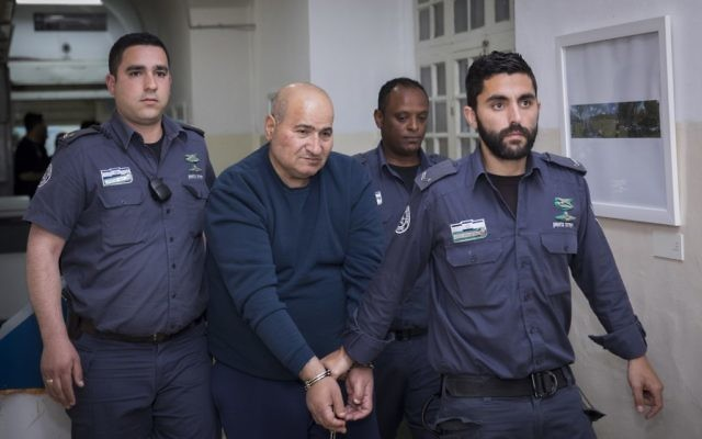 Jamil Tamimi, 57, who stabbed and killed Hannah Bladon in Jerusalem is brought to the Jerusalem Magistrate's Court after his arrest, on April 15, 2017. (Yonatan Sindel/Flash90)