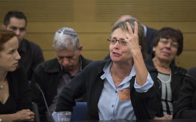 Leah Goldin, mother of fallen IDF soldier Hadar Goldin, speaks at a State Control Committee hearing in the Knesset on April 19, 2017. (Hadas Parush/Flash90)