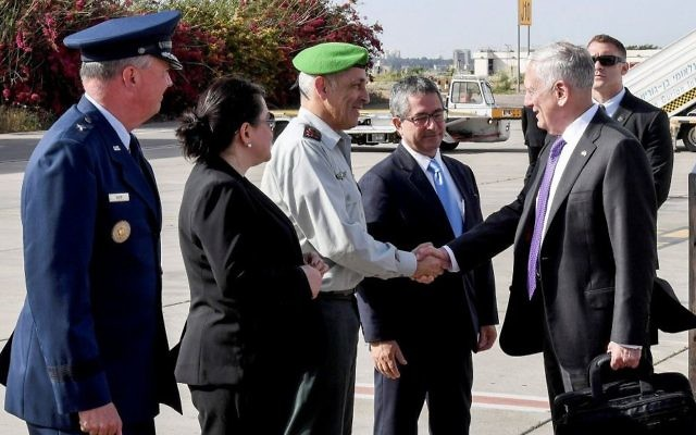 US Defense Secretary James Mattis arrives at Israel's Ben Gurion International Airport on April 20, 2017. (Matty Stern/US Embassy Tel Aviv/Flash90)
