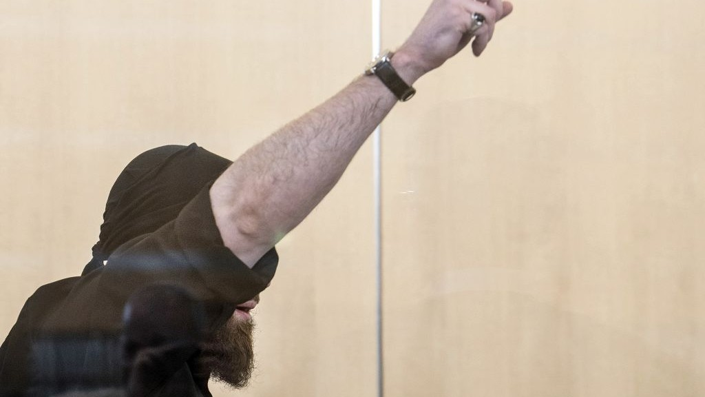 Defendant Marco Gaebel stands in the courtroom during his trial in Duesseldorf, Germany, Monday, April 3, 2017. (Federico Gambarini/dpa via AP)
