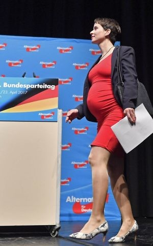 Co-leader Frauke Petry arrives at the party convention of Germany's nationalist party AfD (Alternative for Germany) in Cologne, Germany, Saturday, April 22, 2017. (AP Photo/Martin Meissner)