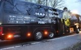 A window of Dortmund's team bus is damaged after an explosion before the Champions League quarterfinal soccer match between Borussia Dortmund and AS Monaco in Dortmund, Germany,  April 11, 2017. (AP/Martin Meissner)