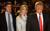 Jared Kushner, Ivanka Trump and Donald Trump attending the Comedy Central Roast of The Donald at the Hammerstein Ballroom in New York City, March 9, 2011. (Jeff Kravitz/FilmMagic via Getty Images/JTA)