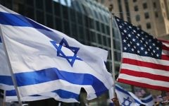 Israeli and American flags seen in Chicago, Illinois, 2014. (Scott Olson/Getty Images)