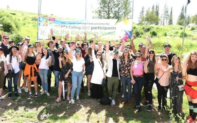 The 28 Eurovision 2017 participants after planting KKL-JNF trees during their four-day trip to Israel (Courtesy Yosi Zeliger)