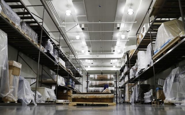 The Large Artifacts Vault is seen at the US Holocaust Memorial Museum's David and Fela Shapell Family Collections, Conservation and Research Center in Bowie, Md., Monday, April 24, 2017. (AP Photo/Carolyn Kaster)