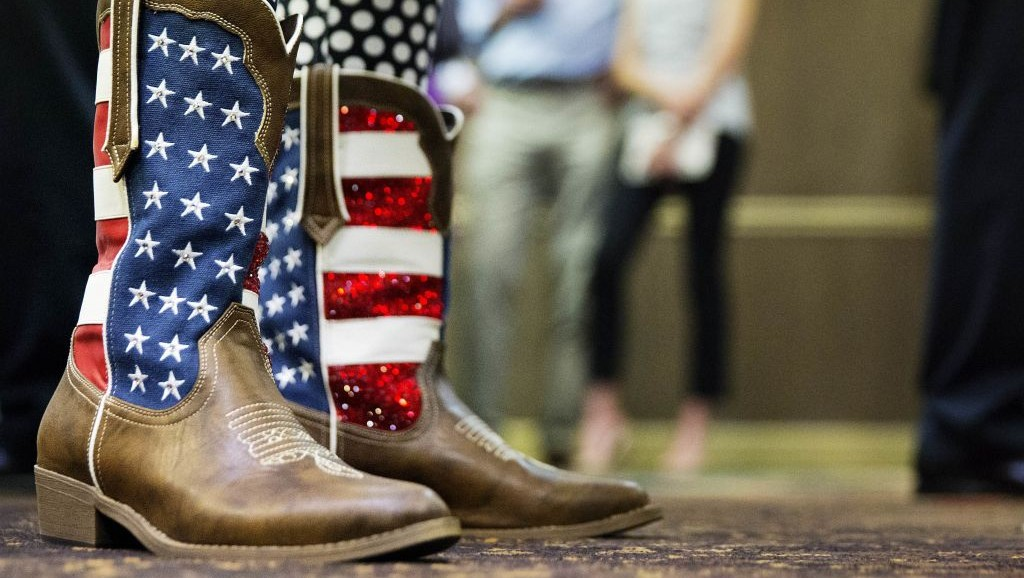American flag-themed cowboy boots at an election night watch party for Republican candidate for Georgia's Sixth Congressional seat Karen Handel in Roswell, Georgia, April 18, 2017. (AP Photo/David Goldman)