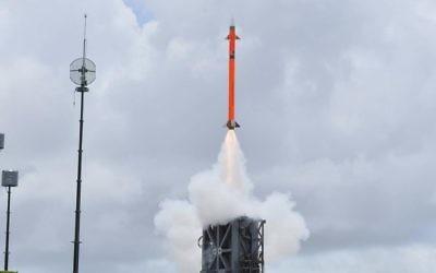 IAI's MRSAM missile during the test June 2016 (Courtesy Israel Aerospace Industries)