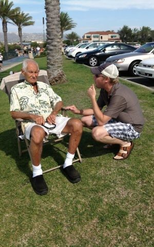Goldfarb preps the late surfing legend, Dorian 'Doc' Paskowitz for an interview. (Courtesy)
