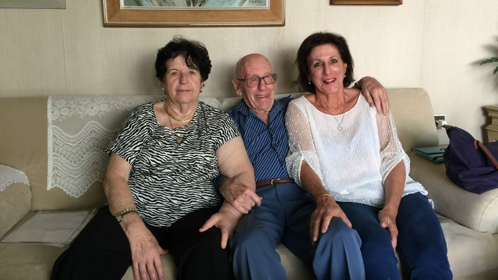 Vicky Keller (left), Shimon Keller and his daughter, Edna Segev, worked together to translate the last letters from Shimon's mother, Berta (Jessica Steinberg/Times of Israel)