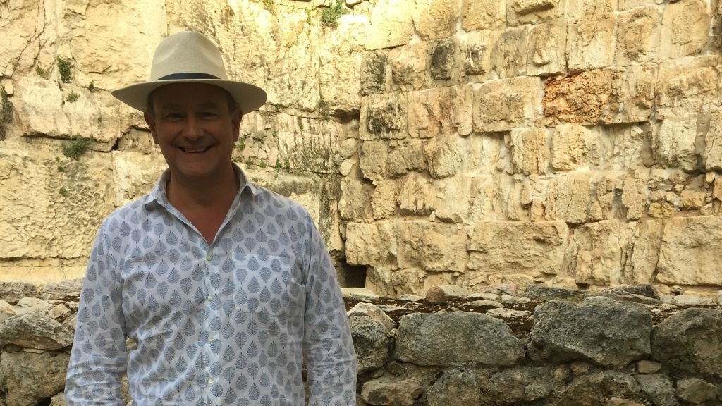 Actor Hugh Bonneville, who played the Earl of Grantham on the popular 'Downton Abbey', in Israel to film a documentary show about Jesus (Jessica Steinberg/Times of Israel)