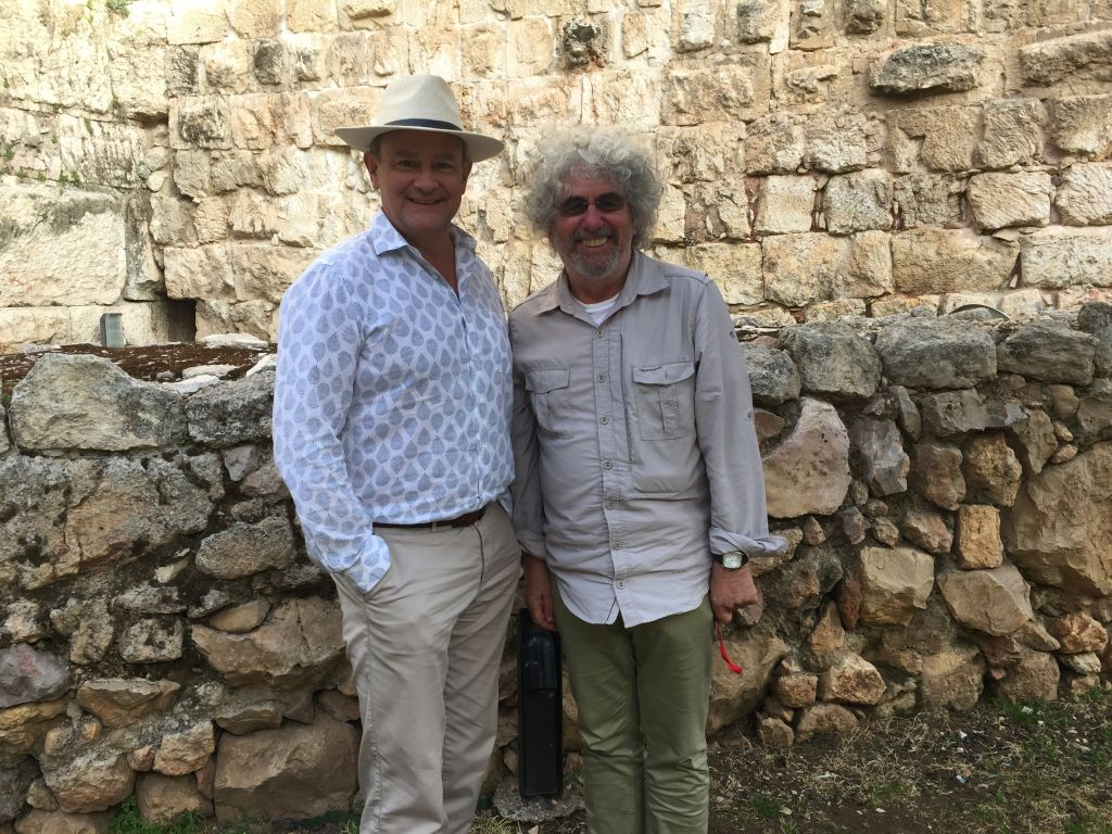 Hugh Bonneville and producer Ray Bruce in the garden of the Tower of David Museum in Jerusalem (Jessica Steinberg/Times of Israel)
