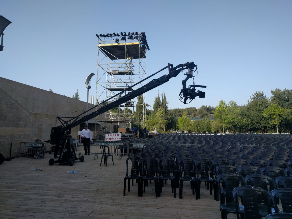 Getting ready for the upcoming Holocaust commemoration ceremony on Sunday, April 23 at Yad Vashem. (Yaakov Schwartz/Times of Israel)