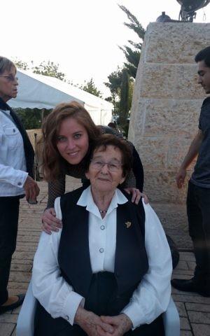 Elka Abromovitz with granddaughter Noam Aviram. (Yaakov Schwartz/ Times of Israel)