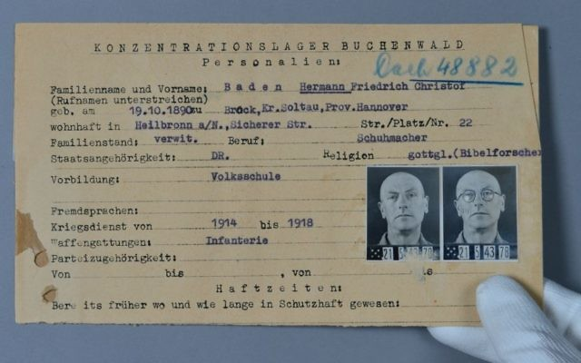 "Prisoner identification cards were kept in the so-called ""registry offices"" of the concentration camps and showed a prisoner's personal data, the reason for his/her incarceration and a physical description. (Andreas Greiner-Napp/ITS)"