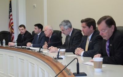 Republican Reps. Ron DeSantis of Florida, Keith Rothfus of Pennsylvania, Doug Lamborn of Colorado and Alex Mooney of West Virginia, speak at the launch of the Congressional Israel Victory Caucus on Capitol Hill on April 27, 2017 (Courtesy, Middle East Forum)