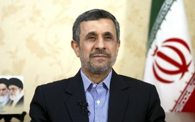 Former Iranian president Mahmoud Ahmadinejad gives an interview to The Associated Press at his office, in Tehran, Iran, Saturday, April 15, 2017. (AP Photo/Ebrahim Noroozi)
