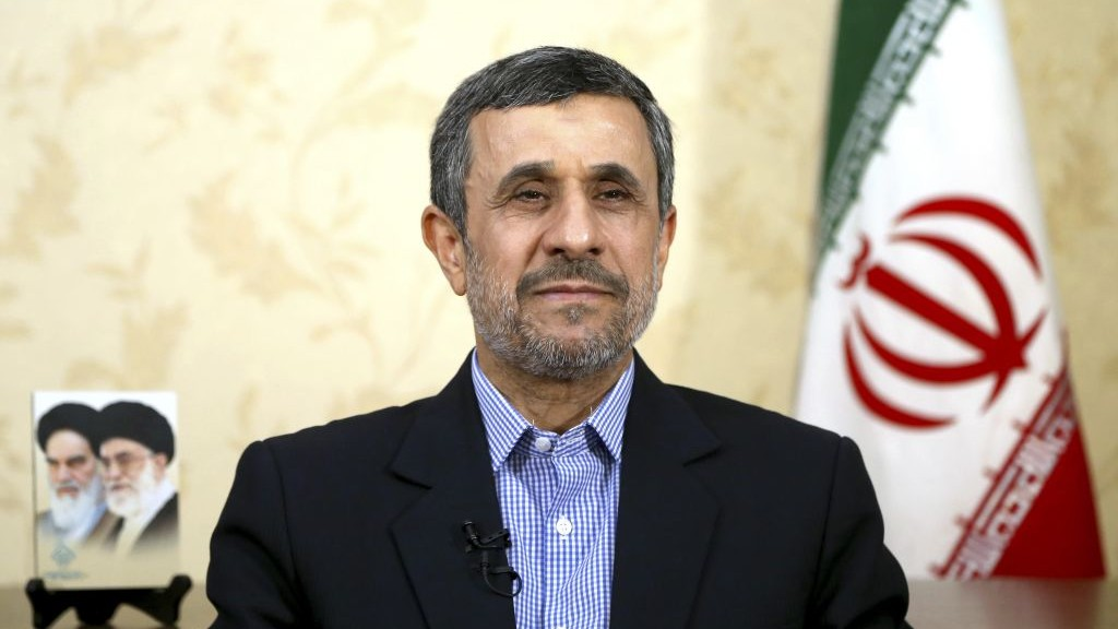 Former Iranian president Mahmoud Ahmadinejad gives an interview to The Associated Press at his office in Tehran Iran Saturday