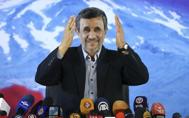 Former Iranian president Mahmoud Ahmadinejad gives a press conference in Tehran, Iran on April, 5, 2017. (AP/Ebrahim Noroozi)