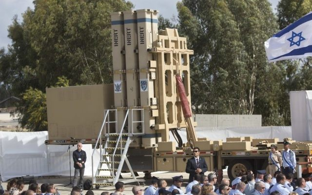 The David's Sling missile defense system seen at the Hatzor Air Base, Israel. Sunday, April 2, 2017. (AP Photo/Sebastian Scheiner)