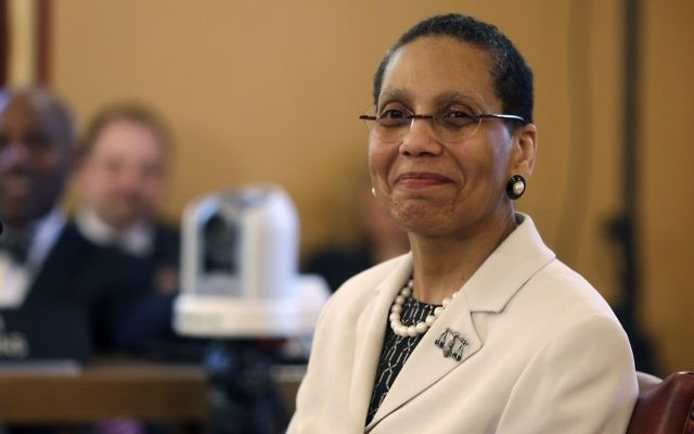 Justice Sheila Abdus-Salaam looks on as members of the state Senate Judiciary Committee vote unanimously to advance her nomination to fill a vacancy on the Court of Appeals at the Capitol in Albany, New York, on April 30, 2013. (AP/Mike Groll)