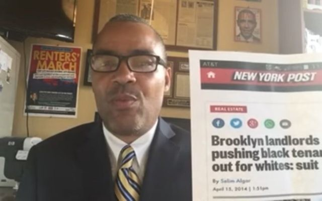 Thomas Lopez-Pierre, a candidate for council in upper Manhattan, New York, speaks against 'greedy Jewish landlords' on March 29, 2017. (Screen capture: YouTube)