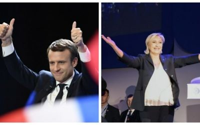 French presidential election candidate for the En Marche ! movement Emmanuel Macron, left (AFP/Eric FEFERBERG) and candidate for the Front National, Marine Le Pen (AFP/Joel SAGET) celebrating their respecive victories on April 23, 2017 after the first round of the Presidential elections. The two will face off on May 7.