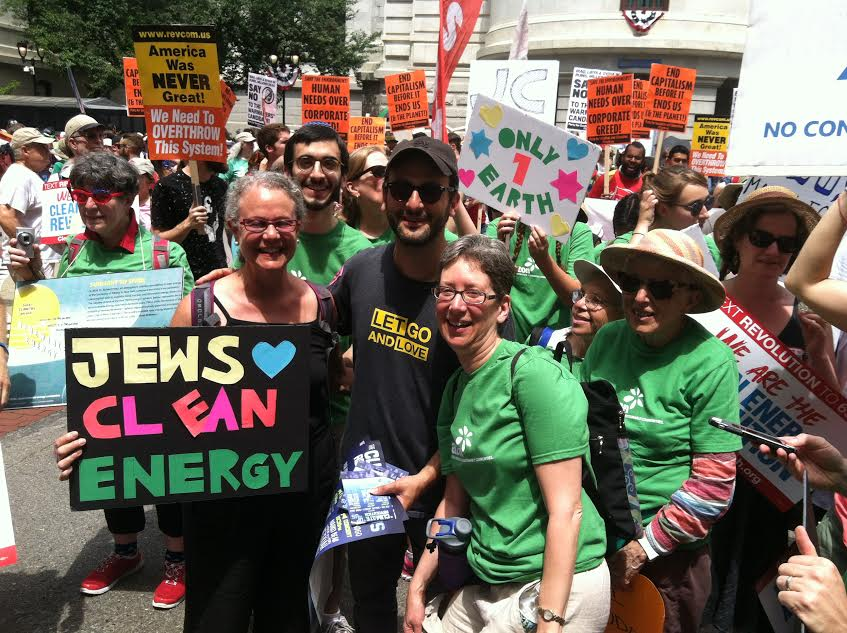 Mirele Goldsmith, front center, participates with JCAN-NYC activists at the March for Clean Energy in Philadelphia in 2016. To her left is Josh Fox (in sunglasses), producer and director of 'Gasland,' a movie about fracking. (Courtesy/ Michael Brochstein)