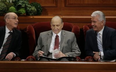 The Church of Jesus Christ of Latter-day Saints President Thomas S. Monson, center, First Counselor Henry B. Eyring, left, and Second Counselor Dieter F. Uchtdorf, right, look on during the morning session of the two-day Mormon church conference Saturday, April 1, 2017, in Salt Lake City (AP Photo/Rick Bowmer)